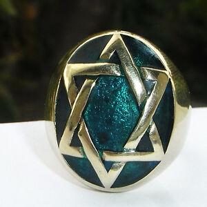 Forest-Eco-Green-Star-Of-David-Mystic-Jewish-Kabbalah-HEXAGRAM-Men-039-s-Ring