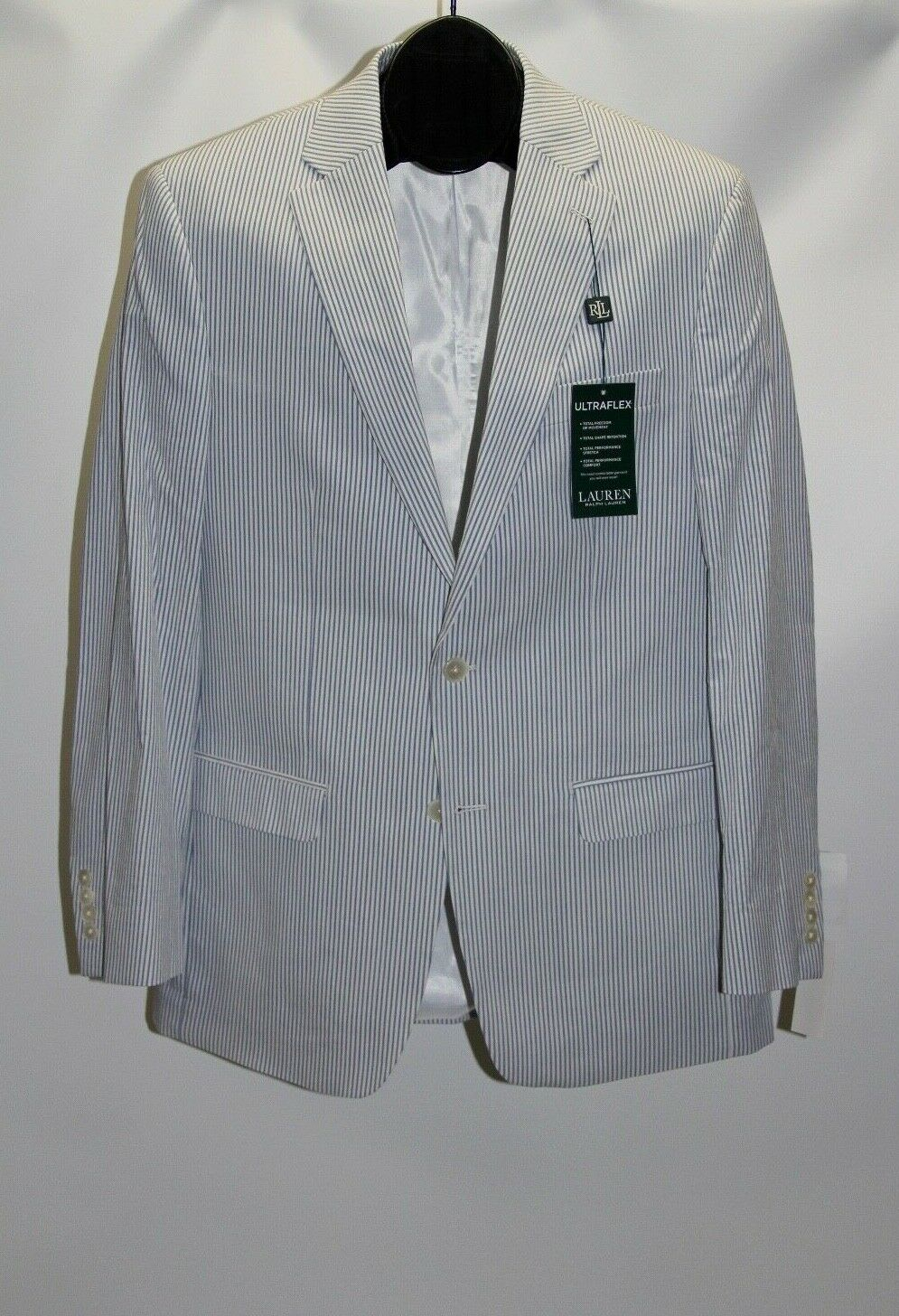 New Lauren Ralph Lauren Men's 40L Light bluee White Striped Ultraflex Sport Coat