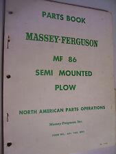 VINTAGE MASSEY FERGUSON  PARTS MANUAL -# 86 SEMI  MOUNTED  PLOW - 1965