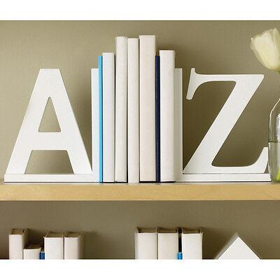New Contemporary Modern White A to Z Alphabet Bookends Alphabetically Organize