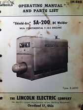 Lincoln Sa 200 Dc Welder Owner Parts Amp Service Manual Pipeliner Gas Engine 1957