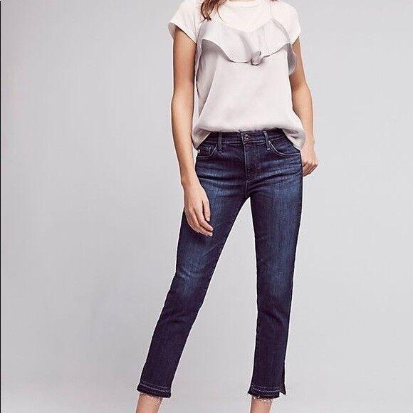 AG Jeans Mid Rise Stevie Capri Cropped Skinny Leg Jeans With Raw Hem Size 29