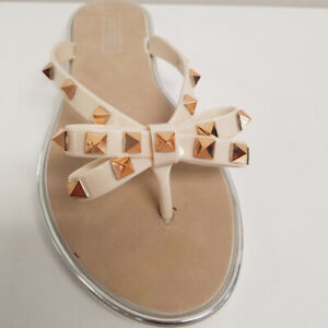 14f73dcccb19 Image is loading Womens-Beige-Glitter-Studded-Bow-Jelly-Thong-Flip-