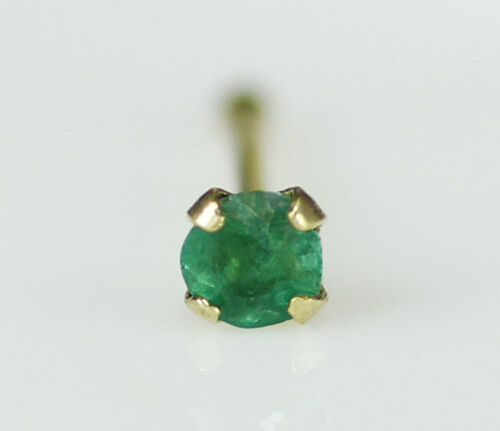 Natural Green Emerald 2mm 14K Solid Gold Nose Bone Stud Body Piercing Jewelry