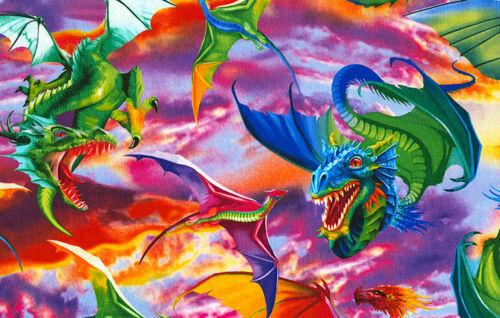 Dragones brillante por tesoros atemporales 100/% Tela De Algodón