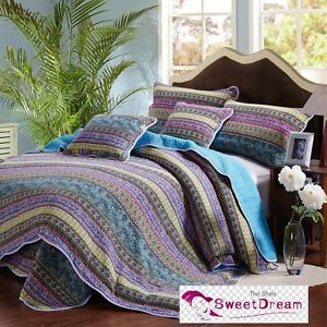 Premium Patchwork Cotton Quilt Bedspread Coverlet Throw Rug 3pcs Queen King Size