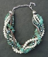 Aqua Green/Blue Shell Pearl Silver Chain Multi-Layer Choker Statement Necklace