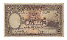 Hong Kong - Five (5) Dollars, 1941