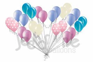 24 Pc Cotton Candy Ice Cream Inspired Polka Dot Latex Balloons Party