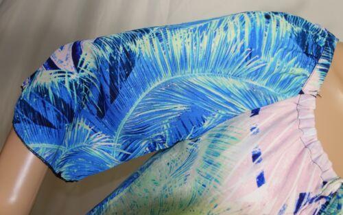 Floreale Taglia Tunica Blu Verde S Semitrasparente Spense Donna Chiffon A5w78qgnY