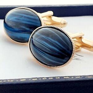 Vintage-CZECH-1950s-Blue-amp-Black-Striped-Glass-Oval-Gold-Plated-Cufflinks