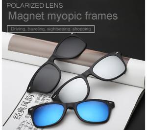 Occhiali-da-Sole-Uomo-Polarizzati-Magnetico-Clip-5-Magnet-Lenti-a-Specchio