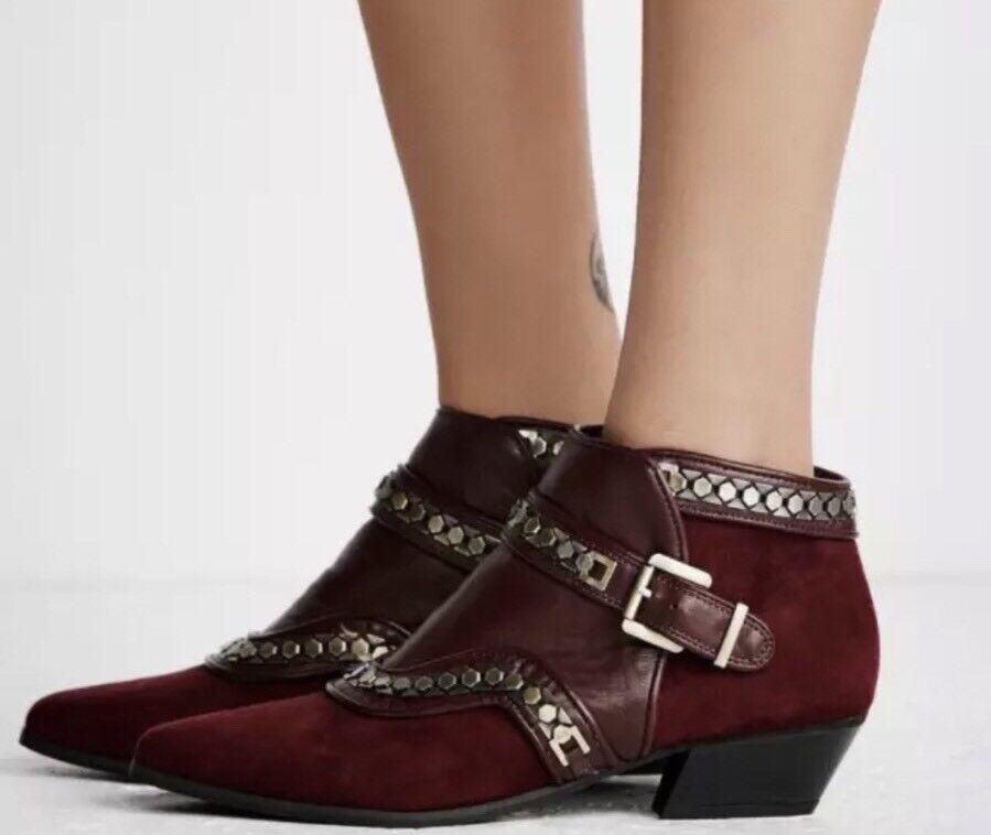 Nuevas botas al Tobillo Free People valor valor valor Vegano tamaño 8 tachonados de Borgoña  El ultimo 2018