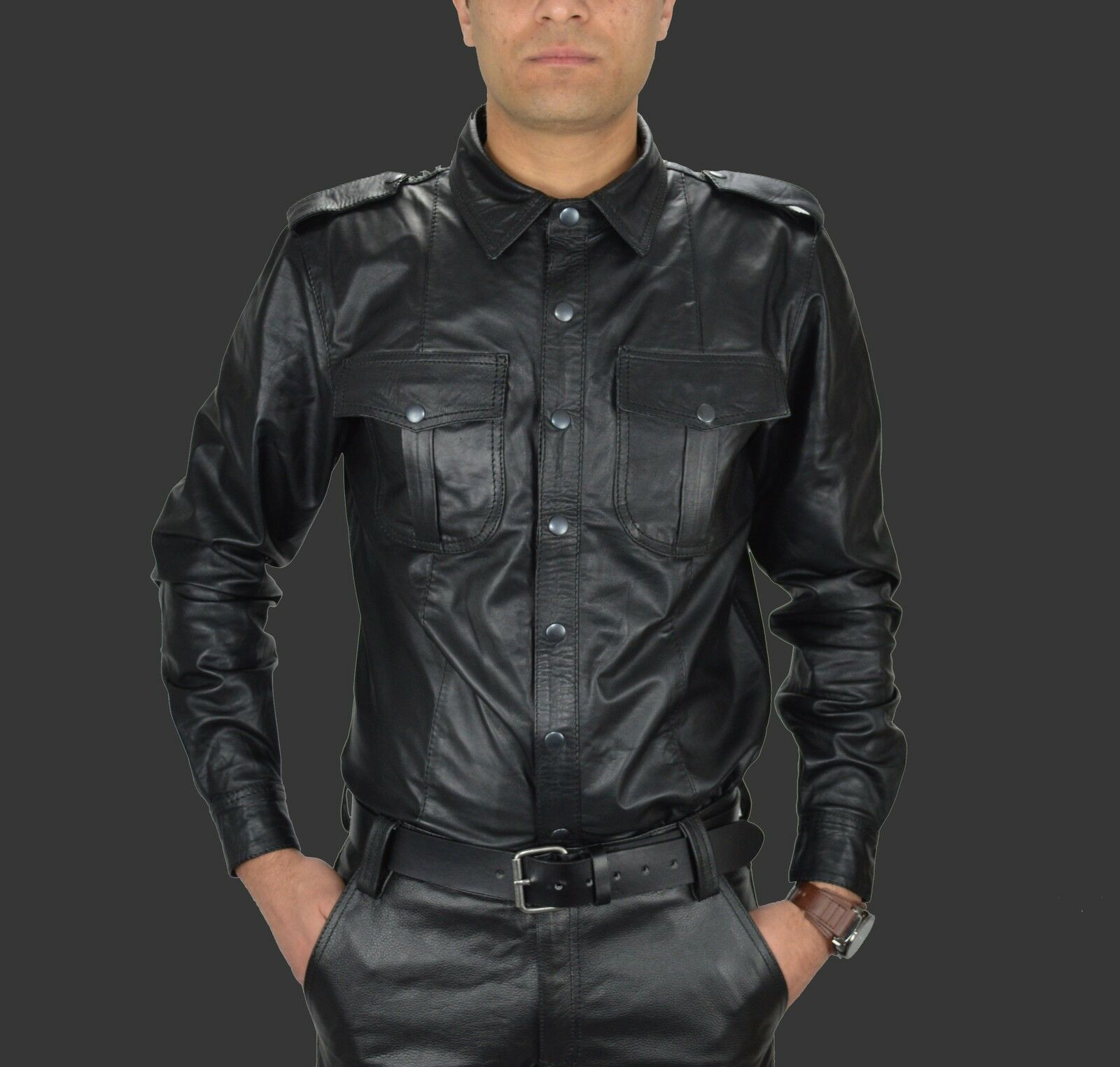 Aw-669 CAMICIA IN PELLE, LEATHER Shirt, Chemise cuir, Soft Pelle Camicia, POLICE STYLE Camicia