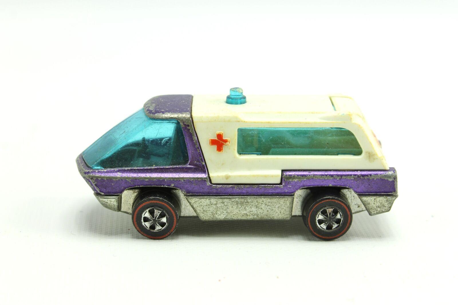 rougeline Hot Wheels 1971 poids lourds Diecast Violet Ambulance  Navires Rapides