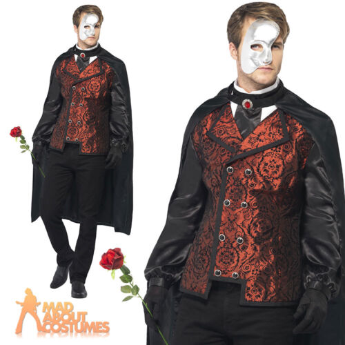 Adult Dark Phantom of the Opera Masquerade Costume Mens Halloween Fancy Dress