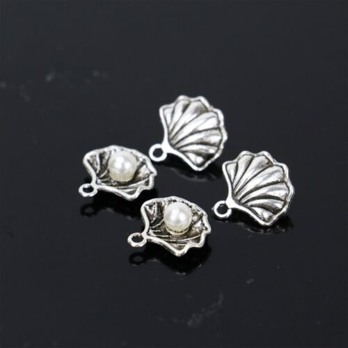 20Pcs Antique Silver Pearl Shell Charms Pendant Necklace Bracelet DIY Jewelry UK