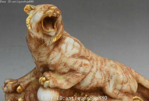 """11/"""" Marked Old Jade Gilt Changcheng Wealth Uphill Tiger Tigers Animal Statue"""