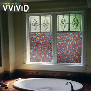 "36"" x 25ft VViViD Stained Glass Frosted Privacy Vinyl Window Film DIY Home Decor"