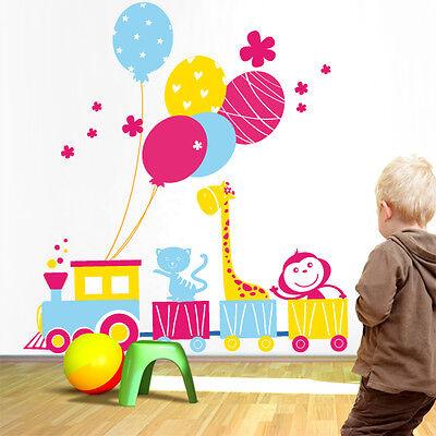 00366 Wall Stickers Adesivi Murali Camera Bimbo Trenino Animaletti 111x120cm Qualità Eccellente