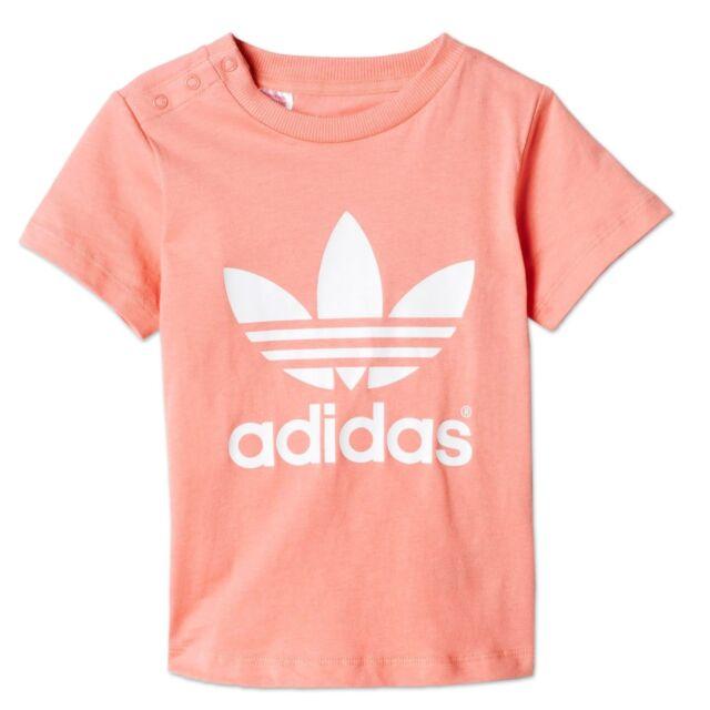 134772e29e60a Adidas Originals Trefoil Baby Girl Casual T-Shirt Wild Roses Pink White 80