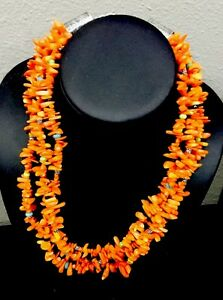 Native-American-3-Strand-Coral-Necklace-Turquoise-Rare-Clearance-372