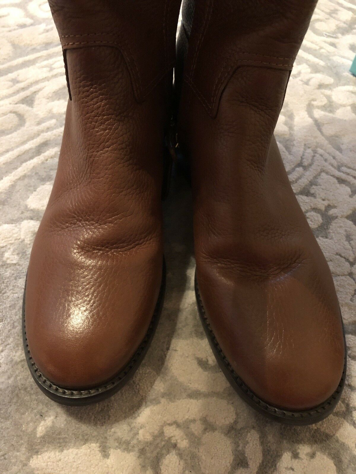 Tory Burch Junction Tumbled Leather Riding Riding Riding Stiefel Almond Gold Sz 6.5 86da8a