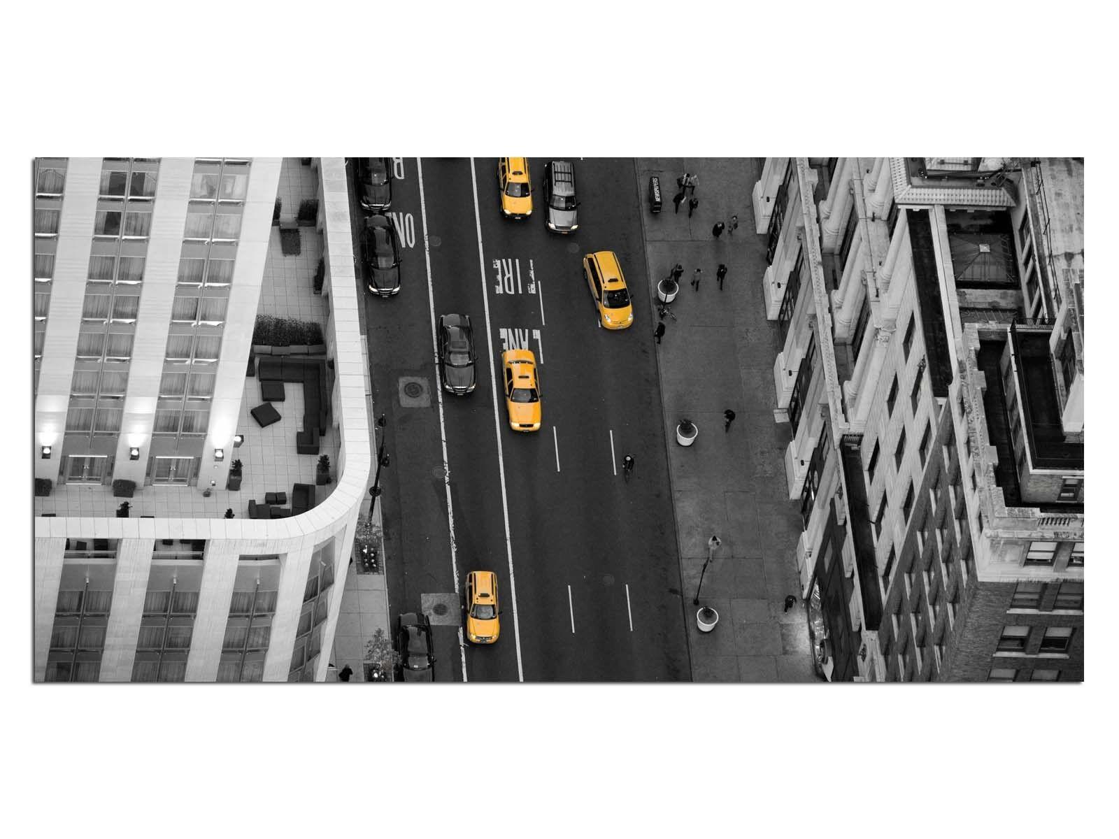 Deco Glass Picture EG4100500910 STREET NEW YORK Gelb Größe 39,37  x 19,68  HD P