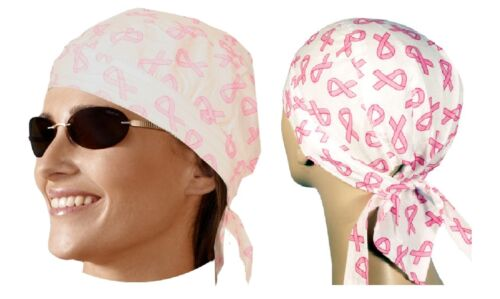 PINK RIBBONS Cancer Survivor FITTED w//Ties Head BANDANA Bandanna Doo Do Du Rag