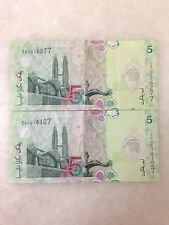 (JC) 2 pcs RM5 11th Series Polymer Zeti Replacement Note  ZA (2 Zero)   - VF (A)
