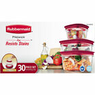 Rubbermaid Premier 30-pc Piece Plastic Food Storage Container Set BPA-Free RED