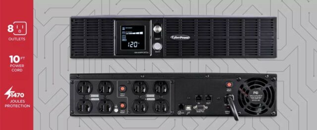CyberPower OR1500LCDRTXL2U UPS System 1500VA/1050W 8 Outlets. New In Box.
