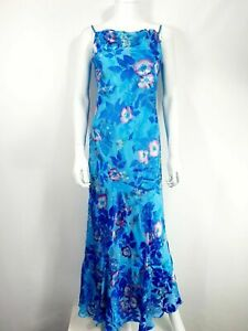 Monsoon Silk Dress 10 Blue Floral Slinky Strappy Long Formal Evening Cowl Neck
