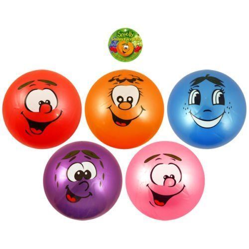 SMELL FRUITY KIDS SMELLY SCENTED BALL PLAY BOP NEW  FRUIT BOUNCE FACE SMILEY