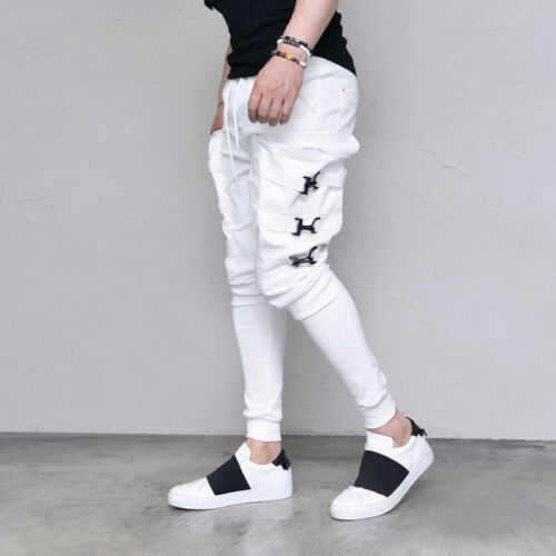 Techwear Street Edge Mens Big Buckle Cargo Jogger Black White Pants By Guylook
