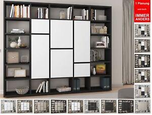 Details zu Toro Bücherregal m. Türen extrem belastbar Regal Wohnzimmer  Regalsystem variabel