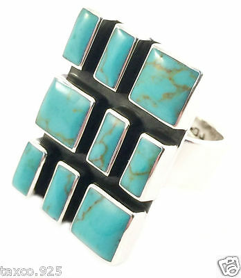 TAXCO MEXICAN STERLING SILVER TURQUOISE ADJUSTABLE RING MEXICO