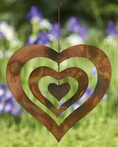 Triple Spinning Heart Flamed Copper Finish Metal Hanging