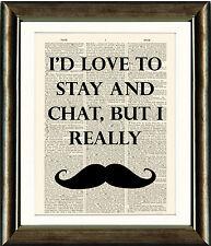 Vintage Antique Dictionary Page Art Print - Movember Moustache Quote Print