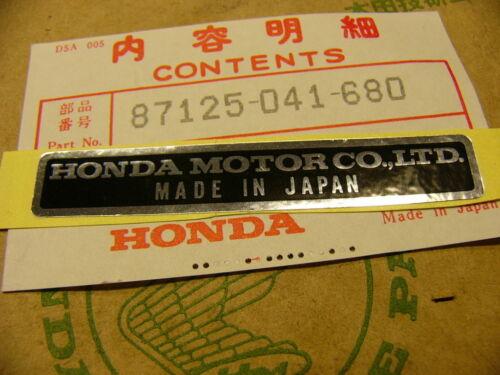 name Honda CB 750 Four K0 K1 K2 Aufkleber Plate Ltd Honda Motor Co.