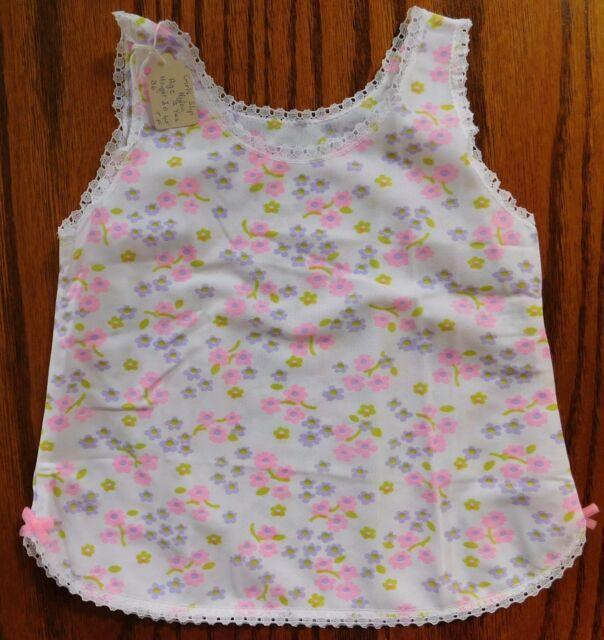 Girls flowery petticoat brushed nylon slip Age 2 years UNUSED vintage 1970s pink