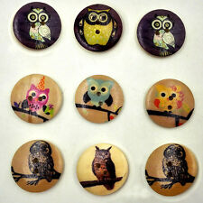 25pcs Mixed Wodden Bottons 2 Holes 30mm Retro Owl Pattern Printing Sewing Crafts