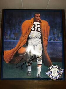 Jim Brown Authentic Autograph Poster Hall Of Fame Busch Beer Browns Mint