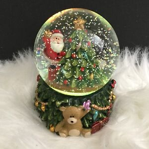 Gisela Graham Santa With Xmas Tree Small Snow Globe Led Christmas Decoration