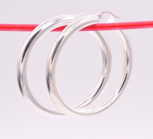 """2/""""  5mm X 50mm Plain Bold Thick Round Hoop Earrings Real Sterling Silver 925"""