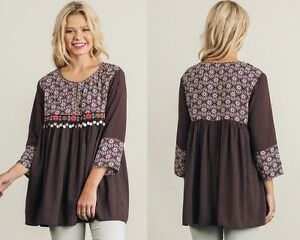Umgee-Burgundy-Mix-Print-Tunic-Trinket-Trim-Boho-Peasant-Top-Small-Medium-Large