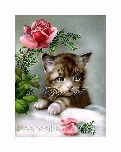 Sweet Kitten Pink Rose /& Petals Quilt Block Multi Sizes FrEE ShiP WoRld WiDE