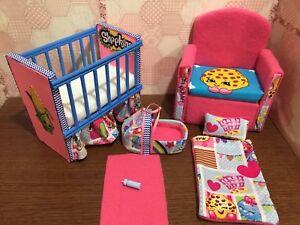 Image Is Loading Barbie Baby Nursery Set Furniture Crib Sofa Carrier