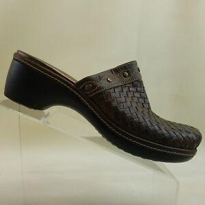 4367e1163044 ECCO Women s Brown Woven Leather Mules Clogs Slides Size EUR 41 US ...