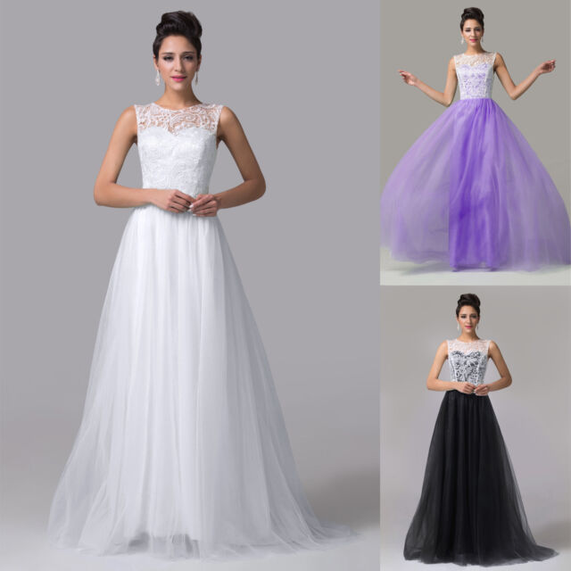 New Formal Lace  Bridesmaid Dresses Evening Prom Ball Gown Stock UK Size 6-20